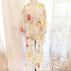 Kimchi blue sheer floral white long button up top